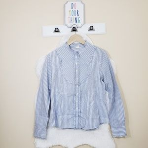 J.CREW BLUE  COLONIAL  PEASANT TOP  WITH RUFFLES